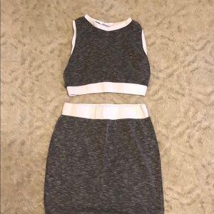 Tops - Crop top matching skirt set